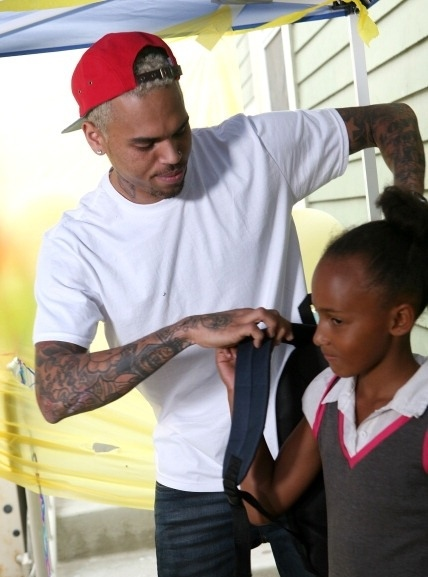 Chris Brown at the Domestic Violence Center